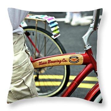 Kona Beer Bike Throw Pillow