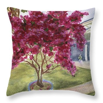 Throw Pillow featuring the painting Kona Bougainvillea by Jamie Frier