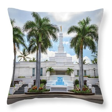 Kona Hawaii Temple-day Throw Pillow by Denise Bird