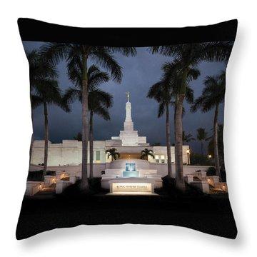 Kona Hawaii Temple-night Throw Pillow