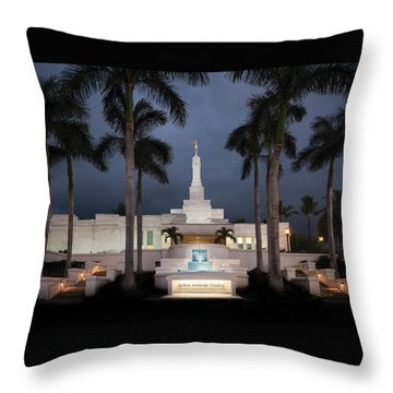 Kona Hawaii Temple-night Throw Pillow