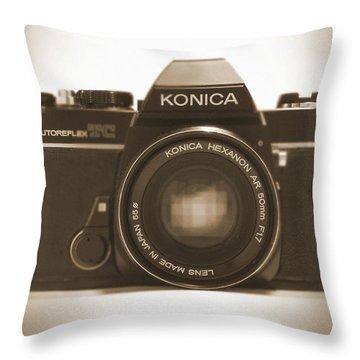 Konica Tc 35mm Camera Throw Pillow by Mike McGlothlen