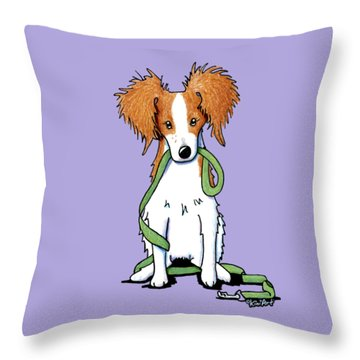 Kooikerhondje With Leash Throw Pillow by Kim Niles