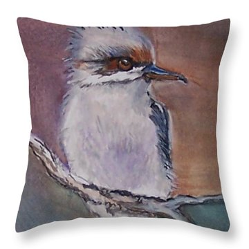 Throw Pillow featuring the painting Kookaburra Fancy by Leslie Allen