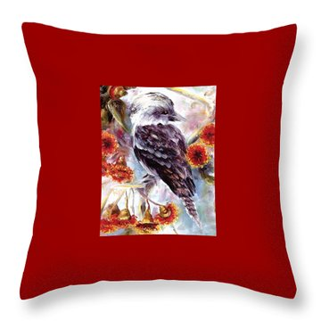 Kookaburra In Red Flowering Gum Throw Pillow