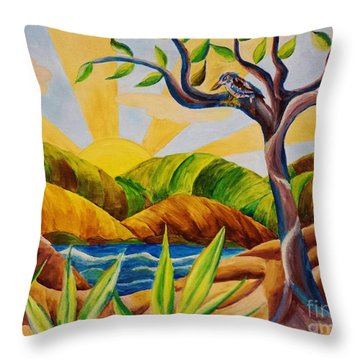 Kookaburra Landscape Throw Pillow