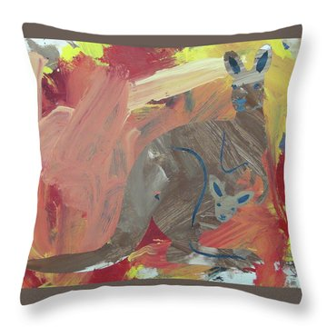 Throw Pillow featuring the painting Kooky Kangaroo by Candace Shrope
