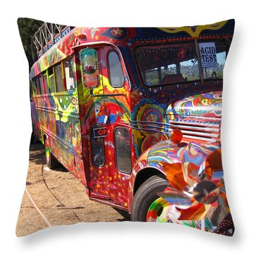 Kool Aid Acid Test Bus Throw Pillow