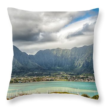 Ko'olau And H-3 In Color Throw Pillow