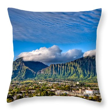 Throw Pillow featuring the photograph Koolau And Pali Lookout From Kanohe by Dan McManus