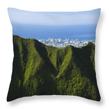 Koolau Mountains And Honolulu Throw Pillow by Dana Edmunds - Printscapes