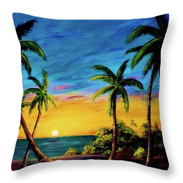 Ko'olina Sunset On The West Side Of Oahu Hawaii #299 Throw Pillow by Donald k Hall