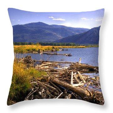 Kootenai Lake Bc Throw Pillow