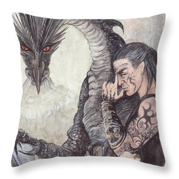 Kor-gat And Black Dragon Throw Pillow by Morgan Fitzsimons