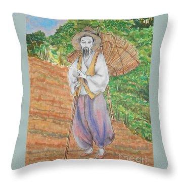 Korean Farmer -- The Original -- Old Asian Man Outdoors Throw Pillow