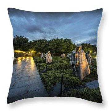 Throw Pillow featuring the photograph Korean War Memorial by David Morefield
