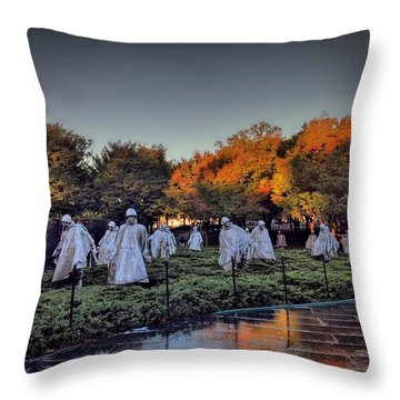 Korean War Memorial In Washington Dc Throw Pillow
