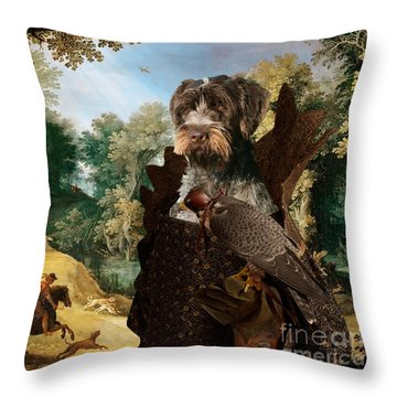 Korthals Pointing Griffon Art Canvas Print - The Hunters And Lady Falconer Throw Pillow