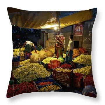 Throw Pillow featuring the photograph Koyambedu Chennai Flower Market Predawn by Mike Reid
