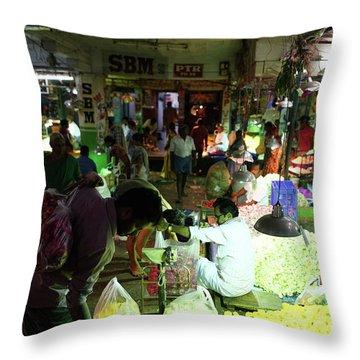 Throw Pillow featuring the photograph Koyambedu Flower Market Stalls by Mike Reid