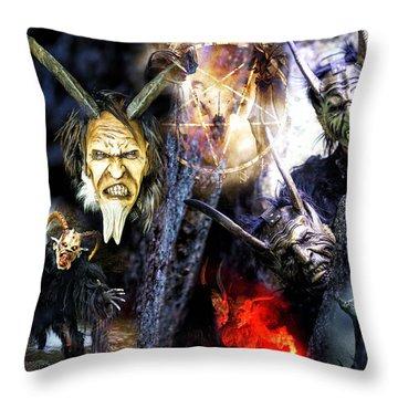 Throw Pillow featuring the digital art Krampus by John Rizzuto