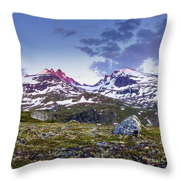 Throw Pillow featuring the photograph Crimson Peaks by Dmytro Korol