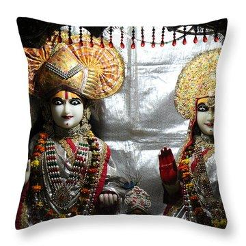 Krishna And Radha, Vrindavan Throw Pillow