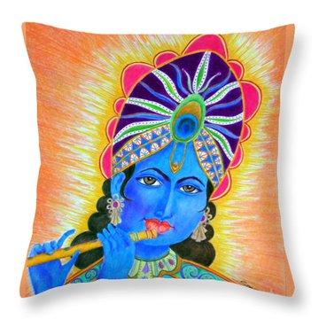 Krishna -- Colorful Portrait Of Hindu God Throw Pillow