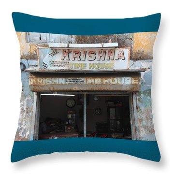 Krishna Time House Throw Pillow by Jennifer Mazzucco