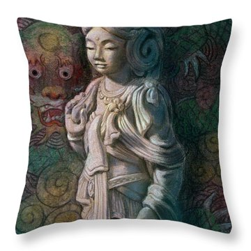 Kuan Yin Dragon Throw Pillow
