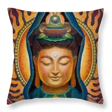 Kuan Yin Flame Throw Pillow