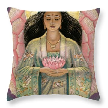 Kuan Yin Pink Lotus Heart Throw Pillow