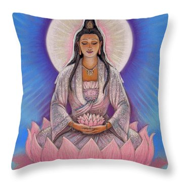 Kuan Yin Throw Pillow by Sue Halstenberg