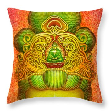 Kuan Yin's Buddha Crown Throw Pillow