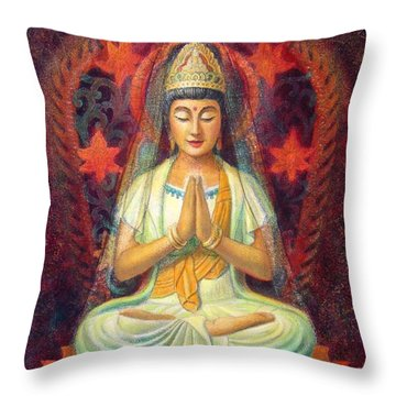 Kuan Yin's Prayer Throw Pillow by Sue Halstenberg