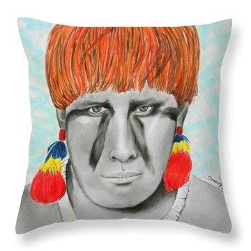 Kuikuro From Brazil -- Portrait Of South American Tribal Man Throw Pillow