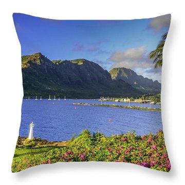 Kuku'i Point Lighthouse, Nawiliwili Bay, Kauai Hawaii Throw Pillow