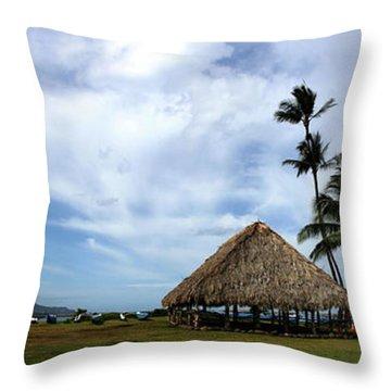 Kukulu Hale Kahului Maui Hawaii Panorama Throw Pillow by Sharon Mau