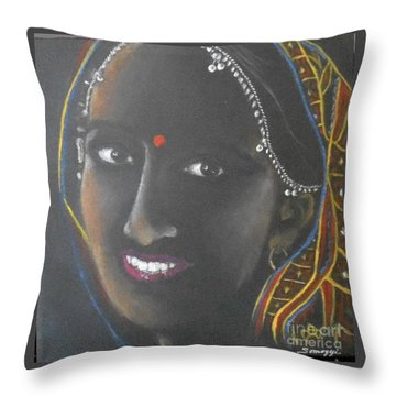 Kumkuma -- Close-up Portrait Of Indian Woman Throw Pillow