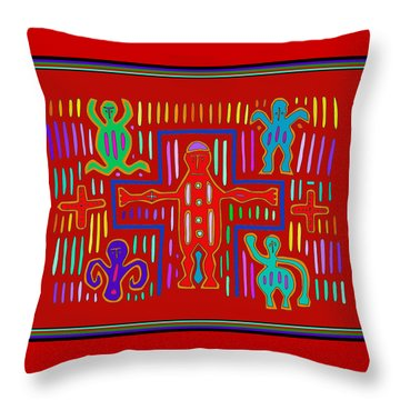 Throw Pillow featuring the digital art Kuna Indian Mola Crucifix by Vagabond Folk Art - Virginia Vivier
