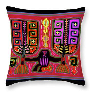 Throw Pillow featuring the digital art Kuna Indian Mola Man With Fans by Vagabond Folk Art - Virginia Vivier