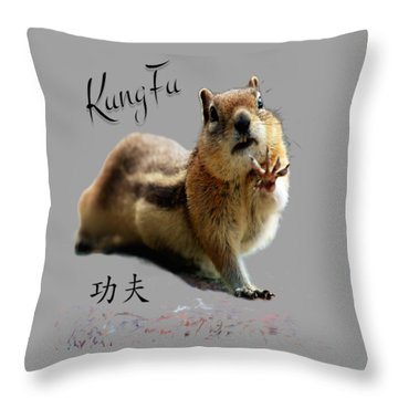 Kung Fu Chipmunk Throw Pillow