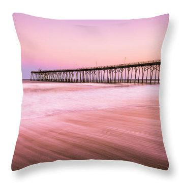 Throw Pillow featuring the photograph Kure Beach Fishing Pier At Sunset by Ranjay Mitra