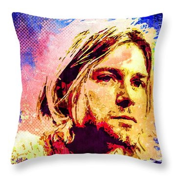 Kurt Cobain Throw Pillow by Svelby Art