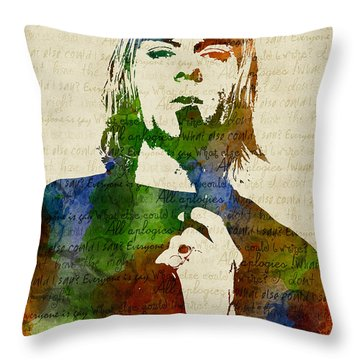 Kurt Cobain Watercolor Throw Pillow by Mihaela Pater