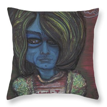 Throw Pillow featuring the painting Kurt Cobalien by Similar Alien