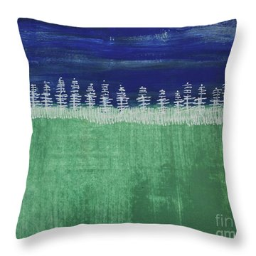 Throw Pillow featuring the painting Kurt's Woods by Kim Nelson