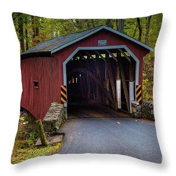 Kurtz Mill Covered Bridge Throw Pillow