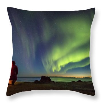 Kvalvika Under The Lights Throw Pillow by Alex Conu