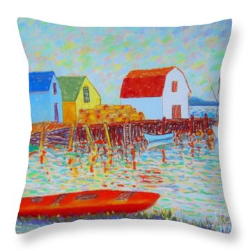 Kyak At Blue Rocks Throw Pillow